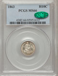 Seated Half Dimes, 1863 H10C MS66 PCGS. CAC....