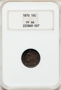Proof Seated Dimes, 1870 10C PR64 NGC....