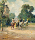 Fine Art - Painting, European:Modern  (1900 1949)  , Attributed to LUDWIG GSCHOSSMANN (German, 1894-1988). ElegantParty in a Barouche. Oil on canvas . 31-1/2 x 28 inches (8...
