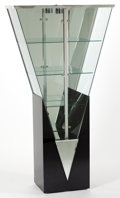 Furniture : American, A CONTEMPORARY LIGHTED, MIRROR, PLASTIC AND GLASS VITRINE . 20thcentury . 77 inches high (195.6 cm). ...
