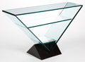 Furniture , A CONTEMPORARY GLASS CONSOLE TABLE . Late 20th century . 31-1/2 x 56 x 13-3/4 inches (80.0 x 142.2 x 34.9 cm). ...