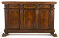 Furniture : Continental, AN ITALIAN RENAISSANCE STYLE WALNUT SIDEBOARD . 17th century inpart . 34 x 52-1/2 x 13-1/2 inches (86.4 x 133.4 x 34.3 cm)...(Total: 2 Items)