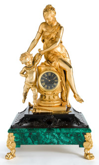 A FRENCH NEOCLASSICAL GILT BRONZE AND MALACHITE FIGURAL CLOCK Circa 1900 and later 38-1/2 inches high (97.8 cm