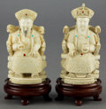 Asian:Chinese, A PAIR OF CHINESE CARVED IVORY AND ENAMEL FIGURES . 20th century .Marks: (characters). 6-1/4 inches high (15.9 cm) (taller ...(Total: 2 Items)