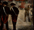 Fine Art - Painting, Russian:Contemporary (1950 to present), GRIGORY GLUCKMANN (Russian, 1898-1973). Carabinieri, 1954.Oil on panel . 16 x 18 inches (40.6 x 45.7 cm). Signed, inscr...