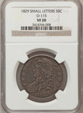 Bust Half Dollars, 1829 50C Small Letters VF20 NGC. O-115. NGC Census: (10/1014). PCGSPopulation (15/1263). Mintage: 3,712,156. Numismedia Ws...