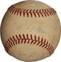 Baseball Collectibles:Balls, 1920's Philadelphia A's and New York Yankees Stars and HOFers Multi Signed Baseball - With Home Run Baker and Jimmie Foxx!...