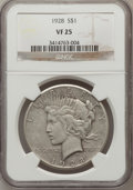 Peace Dollars: , 1928 $1 VF25 NGC. NGC Census: (13/5225). PCGS Population (7/7518).Mintage: 360,649. Numismedia Wsl. Price for problem free...