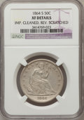Seated Half Dollars, 1864-S 50C --Rev. Scratched, Improperly Cleaned--NGC Details. XF.NGC Census: (4/31). PCGS Population (10/40). Mintage: 658,...