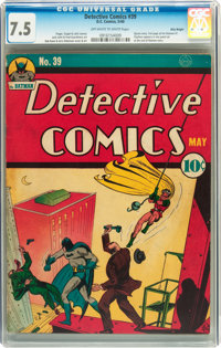 Detective Comics #39 Billy Wright pedigree (DC, 1940) CGC VF- 7.5 Off-white to white pages
