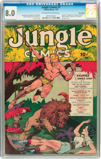 Jungle Comics #1 Billy Wright pedigree (Fiction House, 1940) CGC VF 8.0 Off-white to white pages