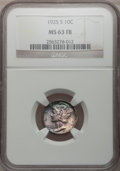 Mercury Dimes: , 1925-S 10C MS63 Full Bands NGC. NGC Census: (19/92). PCGSPopulation (43/209). Mintage: 5,850,000. Numismedia Wsl. Pricefo...