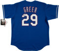 Baseball Collectibles:Uniforms, Rusty Greer Signed Texas Rangers Jersey....