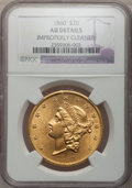Liberty Double Eagles: , 1860 $20 -- Improperly Cleaned -- NGC Details. AU. NGC Census:(86/510). PCGS Population (92/245). Mintage: 577,670. Numism...