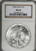 Modern Bullion Coins: , 1986 $1 Silver Eagle MS69 NGC. NGC Census: (53051/635). PCGSPopulation (3379/3). Mintage: 5,393,005. Numismedia Wsl. Price...
