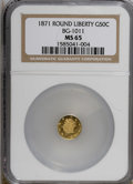 California Fractional Gold: , 1871 50C Liberty Round 50 Cents, BG-1011, R.2, MS65 NGC. NGCCensus: (9/4). PCGS Population (26/10). (#10840)...