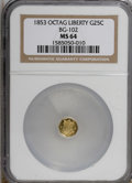 California Fractional Gold: , 1853 25C Liberty Octagonal 25 Cents, BG-102, Low R.4, MS64 NGC. NGCCensus: (3/1). PCGS Population (16/1). (#10371)...