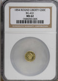 California Fractional Gold: , 1854 50C Liberty Round 50 Cents, BG-431, Low R.5, MS62 NGC. NGCCensus: (2/0). PCGS Population (12/16). (#10467)...