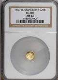 California Fractional Gold: , 1859 25C Liberty Round 25 Cents, BG-801, R.3, MS63 NGC. NGC Census:(7/11). PCGS Population (33/49). (#10662)...