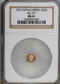 California Fractional Gold: , 1873 25C Liberty Octagonal 25 Cents, BG-727, High R.4, MS61 NGC.NGC Census: (1/3). PCGS Population (1/51). (#10554)...