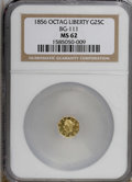 California Fractional Gold: , 1856 25C Liberty Octagonal 25 Cents, BG-111, R.3, MS62 NGC. NGCCensus: (11/17). PCGS Population (81/116). (#10380)...
