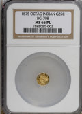 California Fractional Gold, 1875 25C BG-798 MS65 Prooflike NGC. (#710625)...