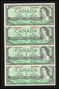 Canadian Currency: , BC-37d $1 1954 Four Examples. ... (Total: 4 notes)