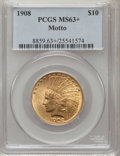 Indian Eagles, 1908 $10 Motto MS63+ PCGS....