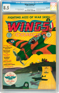 Wings Comics #1 Billy Wright pedigree (Fiction House, 1940) CGC VF+ 8.5 Off-white to white pages