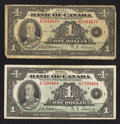 Canadian Currency: , BC-1 $1 1935 Two Examples. ... (Total: 2 notes)