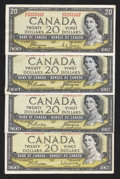 Canadian Currency: , A Quartette of Canadian $20 1954 Issues. ... (Total: 4 notes)