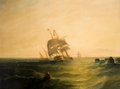 Paintings, J. CARMICHAEL (Late 19th/Early 20th Century). Sailing in Rough Waters. Oil on canvas . 29-1/2 x 40 inches (74.9 x 101.6 ...