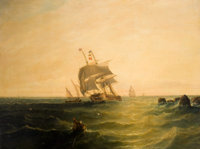 J. CARMICHAEL (Late 19th/Early 20th Century) Sailing in Rough Waters Oil on canvas 29-1/2 x 40 i