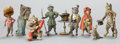 Sculpture, EIGHT AUSTRIAN COLD-PAINTED BRONZE FIGURES: COSTUMED CATS . Circa 1900 . Marks: STERSCHUTZ (singing cat). 2-3/4 ... (Total: 8 Items)