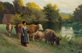 Fine Art - Painting, European:Other , EDOUARD BERNARD DEBAT-PONSAN (French, 1847-1913). Young Woman bya Stream with Cattle, 1902. Oil on canvas . 23-1/2 x 36...