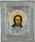 Other:European, FOUR RUSSIAN ICONS WITH SILVERED METAL AND ENAMEL OKLADS . Late19th century. 12-1/4 x 9-3/4 inches (31.1 x 24.8 cm) (larges...(Total: 4 Items)