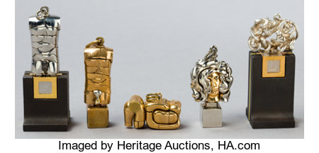 FIVE ITALIAN MICRO FIGURAL PUZZLES BY MIGUEL BERROCAL (SPANISH, 1933-2006)  Circa 1970 Marks: berrocal 2-1/2 inches h... (Total: 5 Items)