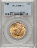 Indian Eagles: , 1926 $10 MS63 PCGS. PCGS Population (10271/3483). NGC Census:(12393/4785). Mintage: 1,014,000. Numismedia Wsl. Price for p...