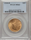 Indian Eagles: , 1910-D $10 MS63 PCGS. PCGS Population (2024/732). NGC Census:(1851/1067). Mintage: 2,356,640. Numismedia Wsl. Price for pr...