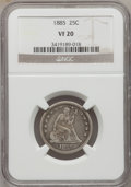 Seated Quarters: , 1885 25C VF20 NGC. NGC Census: (0/81). PCGS Population (0/119).Mintage: 13,600. Numismedia Wsl. Price for problem free NGC...