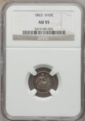 Seated Half Dimes: , 1863 H10C AU55 NGC. NGC Census: (1/102). PCGS Population (5/122).Mintage: 18,000. Numismedia Wsl. Price for problem free N...