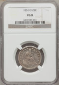 Seated Quarters: , 1851-O 25C VG8 NGC. NGC Census: (0/22). PCGS Population (7/39).Mintage: 88,000. Numismedia Wsl. Price for problem free NGC...