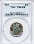 Proof Barber Quarters: , 1903 25C PR62 Cameo PCGS. PCGS Population (2/55). NGC Census: (1/45). (#85689)...