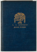 Books:Fiction, A. E. Housman. More Poems. New York: Knopf, 1936. First American edition, first printing. Octavo. 73 pages. Publishe...