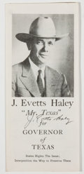 Books:Americana & American History, [J. Evetts Haley]. SIGNED. Political Flyer for J. Evetts Haley'sCampaign for Governor of Texas. Canyon, Texas: J. Evett...