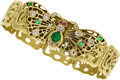 Estate Jewelry:Bracelets, Art Nouveau Diamond, Emerald, Ruby, Gold Bracelet, Lebolt &Co.. ...