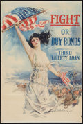 "Movie Posters:War, World War I Propaganda Poster by Howard Chandler Christy (Forbes,1918). Third Liberty Loan Poster (20"" X 30"") ""Fight or Buy..."