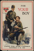 "Movie Posters:War, World War I United War Work Campaign (Comm. on Public Information,1918). YMCA / War Work Campaign Propaganda Poster (20"" X ..."