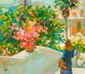 Fine Art - Painting, American:Contemporary   (1950 to present)  , RODOLFO DOTTI (Italian, 1928-1981). Streetscape with Figure.Oil on canvas . 29-1/2 x 33-1/2 inches (74.9 x 85.1 cm). Si...