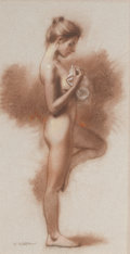 Fine Art - Work on Paper:Drawing, WILLIAM WHITAKER (American, b. 1943). Standing Nude . Pastelon board. 16-1/2 x 8-1/2 inches (41.9 x 21.6 cm). Signed lo...